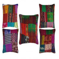 Patchwork & Silk Cushion Covers