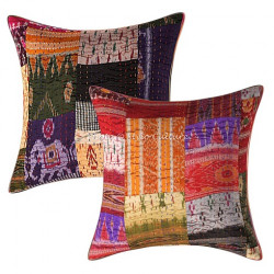 Stylo Culture Decorative Polydupion Silk Embroidered Cushion